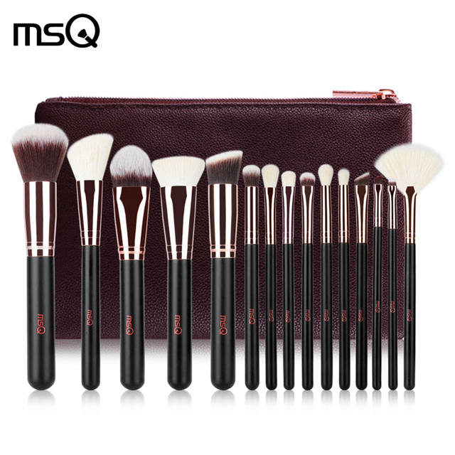 MSQ Pro 15 PCs brochas de unids maquillaje Set polvo base sombra de ojos maquillaje brochas cosméticos pelo sintético suave con Funda de cuero PU