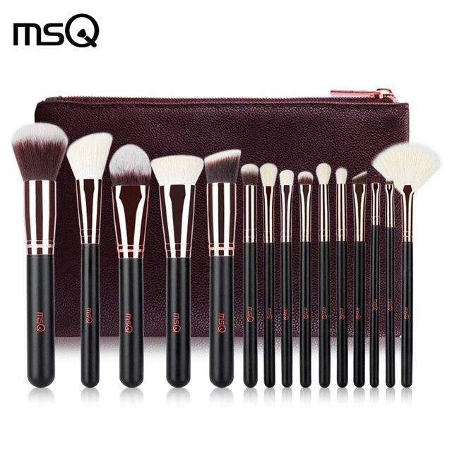 MSQ Pro 15 piezas maquillaje de los cepillos conjunto Fundación polvo sombra de ojos pinceles de maquillaje cosméticos suave pelo sintético con cuero de la PU caso