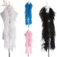 chengbright High Quality 6Layers Natural Ostrich Feather Boa Stage Performance Clothing Accessories Decoration Diy White Feather