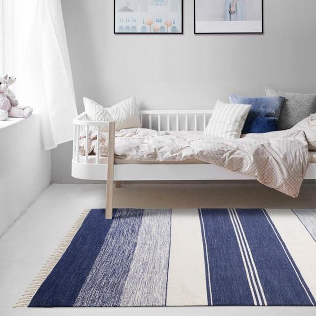 Simple black and white striped carpet living room sofa decoration ...