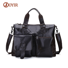 JOYIR Top-Handle Bags Men Business Zipper Handbag Tote Genuine Leather Shoulder Bags Cow Leather Messenger Crossbody Bag Male