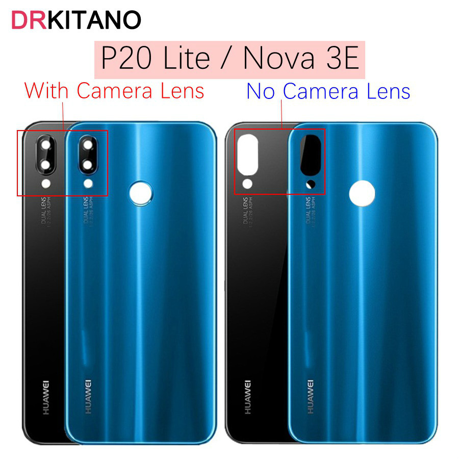 Huawei P20 Lite Back Battery Glass Cover With Camera Lens Huawei P20 Lite Battery Cover Nova 3e Rear Door Housing Case Panel(China)