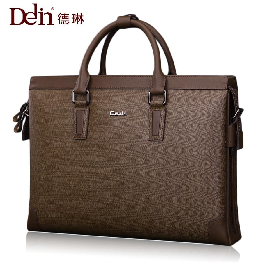 Delin носимых кожаная мужская сумка бизнес-пакет мужская сумка портфель мужской кожи сечение
