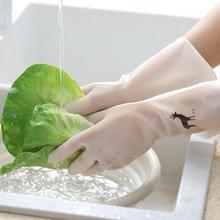 1 زوج لطيف فلامنغو الغزلان نمط المطاط طبق غسل قفازات التنظيف قفازات منزلية المطبخ سهلة غسل اليد حماية قفازات