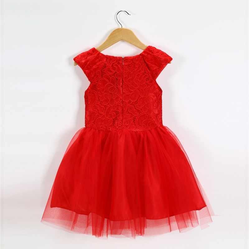 ... 2018 New Summer Fashion Children Girls Lace Hook Flower Mesh Princess  Dress Cute Girl Party Red ... 27d8b94d008c