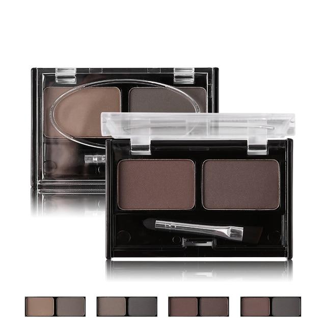 Professional Brand Eyeshadow Cake Makeup 2 Color Waterproof Eyebrow Powder Eye Shadow Eye Brow Palette + Brush Eyebrow Enhancer 2