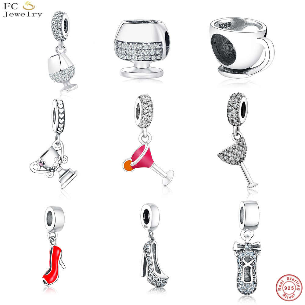 FC Jewelry Fit Original Pandora Charm Bracelet 925 Silver Summer Pink Color Cocktail Wine Cup Hanging Beads Berloque DIY Gift