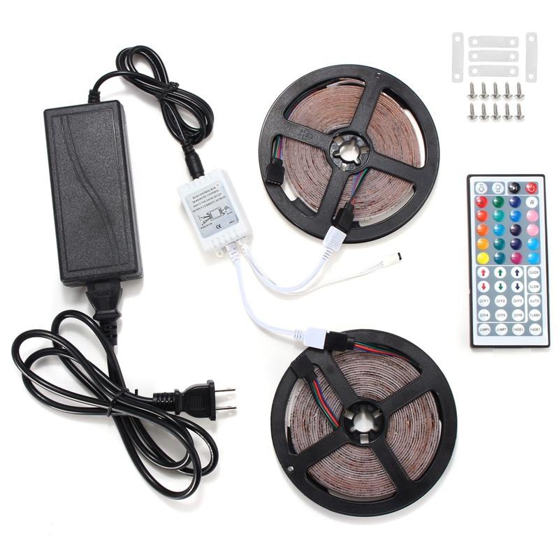 Smuxi 10M RGB LED Strip Light 3528 300SMD LED Strip +44 key IR Controll +Power Supply no Waterproof