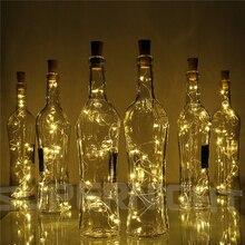 10X включает батарею 2 м 20-светодиодный светильник-гирлянда из медной проволоки с пробкой для стеклянной бутылки, Декоративный Рождественский светильник s