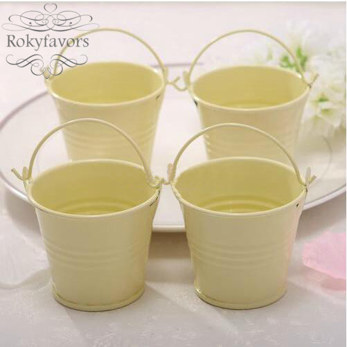 Free Shipping 12pcs Ivory Cute Mini Buckets Favor Candy Boxes Mini