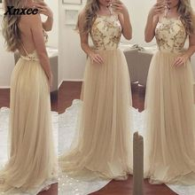 Fashion Elegant Backless Halter Sexy Dresses Sleeveless Mesh Spliced Party Maxi Dress Women Clothing S M L XL Xnxee