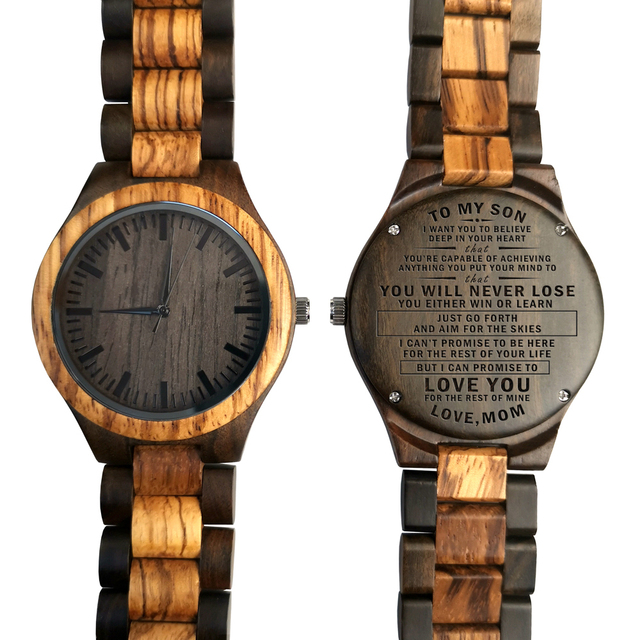 Wooden Wood Engraved Watch To My Son You're Capable Of Achieving Anything You Pu