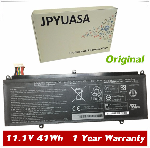 Goed Jpyuasa 11.1 V 41wh Originele Pa5190u-1brs Laptop Batterij Voor Toshiba Satellite Klik 2 Pro P30w-b P35w-b Tablet