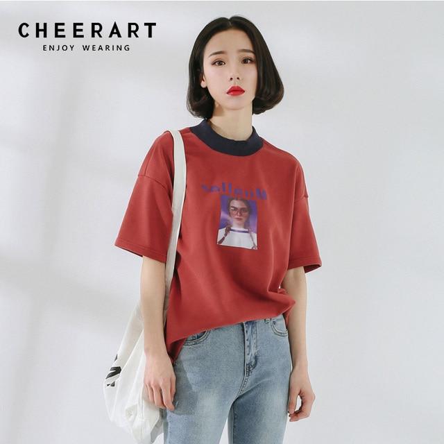 5a24c7d3b146 Cheerart Summer 2018 T Shirt Women Ulzzang Korean Print Loose Tops Cotton  Casual Graphic Tee Shirt