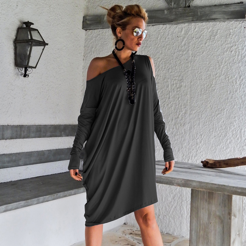 High Quality <font><b>Dress</b></font> <font><b>Women</b></font> <font><b>Sexy</b></font> Off The Shoulder Long Sleeve Casual Loose <font><b>Dress</b></font> Beach <font><b>Dress</b></font> Female Vestidos 5XL <font><b>Plus</b></font> <font><b>Size</b></font> image