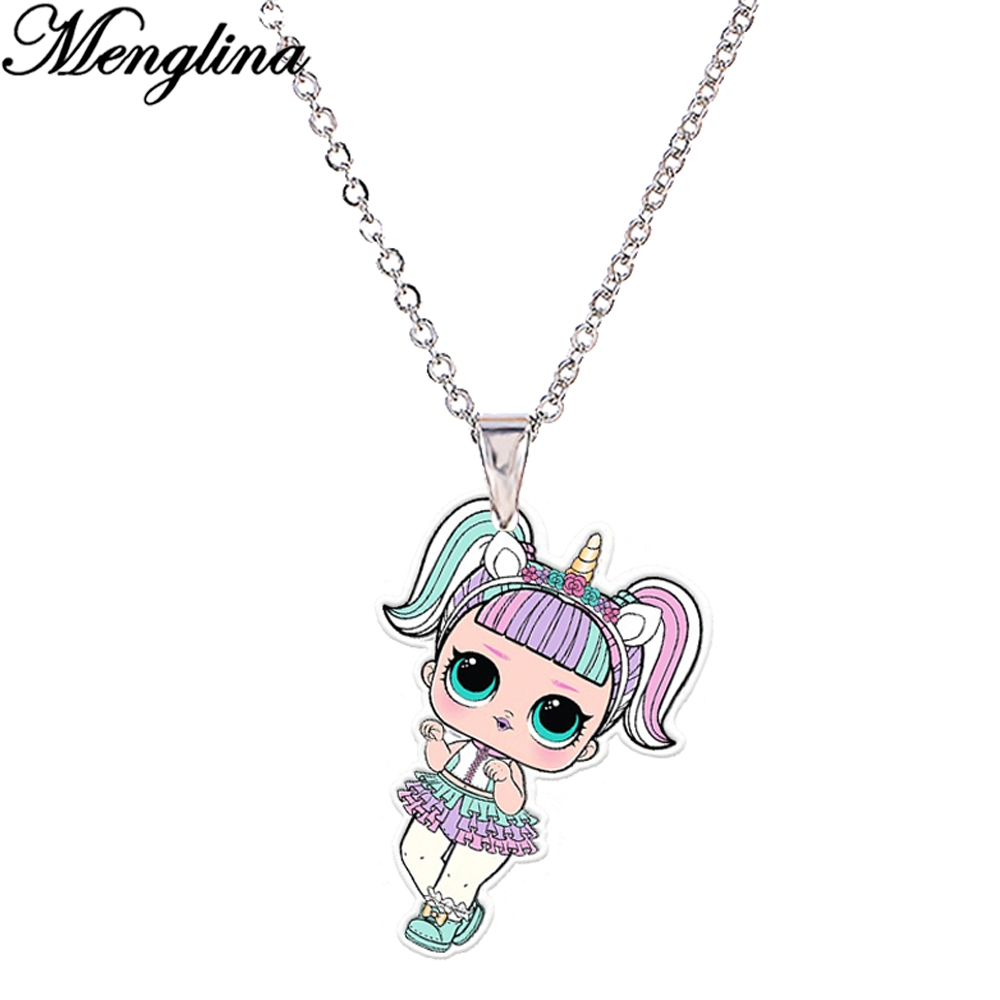 Cartoon Little Unicorn Girl Acrylic Necklaces & Pendants Silver Color Chain Printed Flatback Resin Charm Cute Pendant