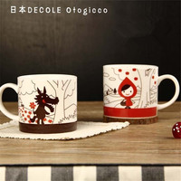 2 In 1 Couples Coffee Cups Cartoon Little Red Riding Hood Cute Lovers Gift Ceramic Moring