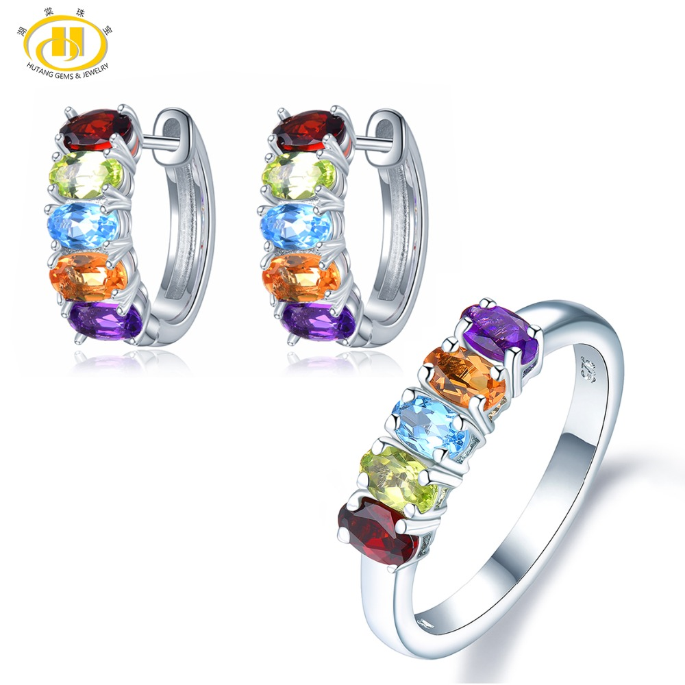 Hutang Multi Gemstone Jewelry Sets Earrings Ring 925 Silver Natural Amethyst Garnet Citrine Fine Jewelry for