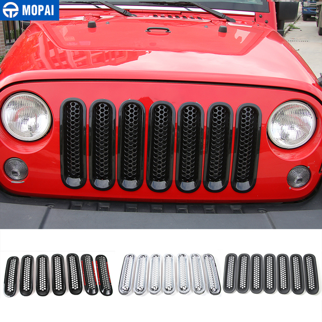 MOPAI ABS Car Exterior Insert Front Mesh Grille Cover Trim With Buckle Stickers For Jeep Wrangler JK 2007 2016 Car Styling