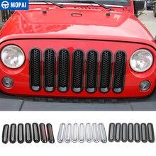MOPAI cubierta de rejilla delantera para coche, embellecedor con hebillas adhesivas, para Jeep Wrangler JK, 2013 2019