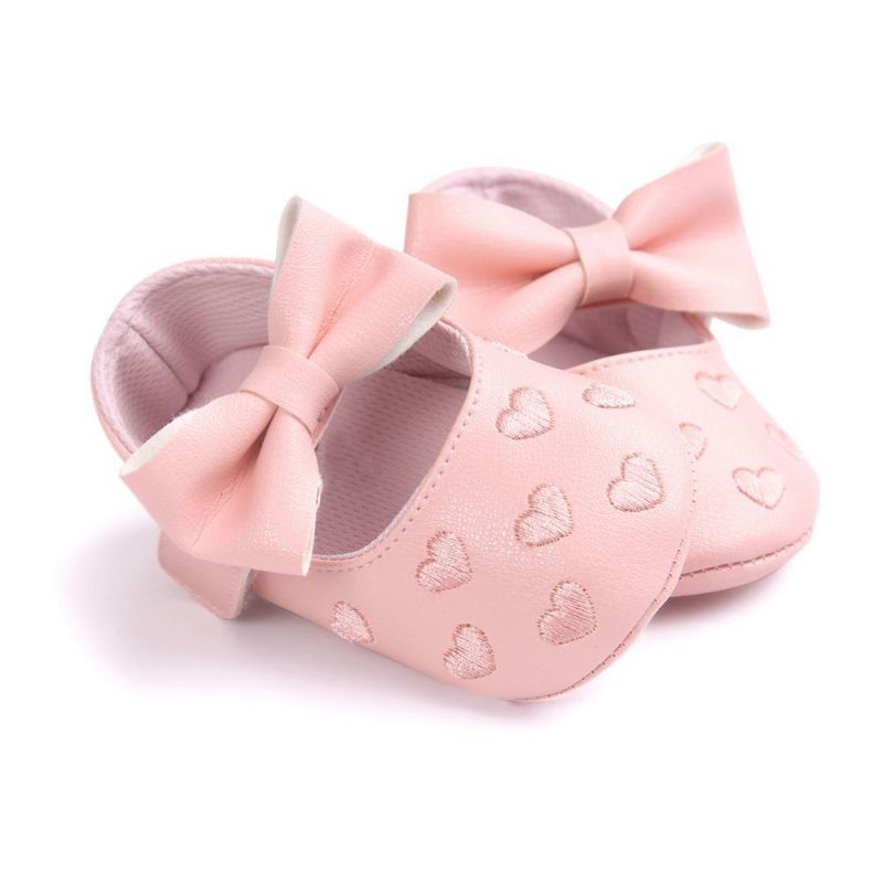 Big Bow Embroidery Non-slip Shoes Baby Shoes New Infant Boots Newborn Babies Shoes Soft Bottom PU Leather Prewalkers
