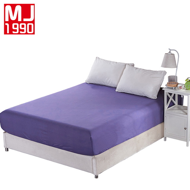 100% Polyester Fitted Sheet Mattress Cover Solid Color Bedding Bed Sheets  With Elastic Band 160cm