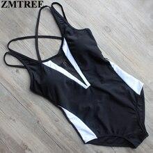 ZMTREE Plus Size Backless del traje de Baño 2017 Nueva Patchwork Verano Beachwear del Traje de Baño de La Vendimia de Una Pieza del traje de Baño Mujeres Trajes de Baño