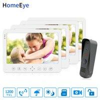 HomeEye 7 אינץ וידאו דלת טלפון וידאו אינטרקום פעמון 1200TVL עמיד למים תמיכת וידאו שיא נעילת דלת 1 כדי 4 גישה מערכת