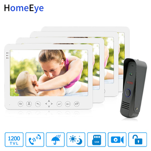 HomeEye 7 дюймов видеодомофон дверной звонок 1200TVL водонепроницаемая Поддержка видео запись разблокировка двери от 1 до 4 Система доступа