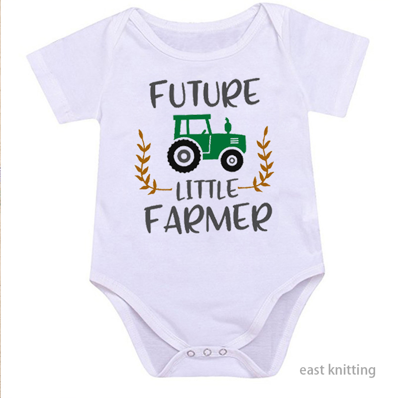 DERMSPE Summer Casual Newborn Baby Boy Girl Short Sleeve Letter Red Print Future Little Farmer Romper Baby Clothes White
