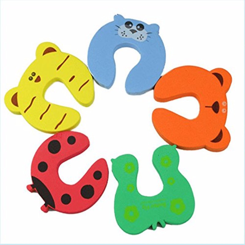 10pcs Child Kids Baby Cartoon Exit Card Door Stoper, Holder Lock Guard Finger Protect, Animal Jammers Infant Safety Protector