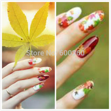 2pc 3D DIY RED Green Maple leaf Canada Autumn Fall fairground Rose Butterfly Beauty Nail Art Tip Nail Sticker Gel Nail Decal(China)