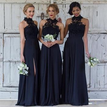 Ruby Bridal 2019 Vestidos De Fiesta Long A-line Evening Dresses Navy Chiffon Lace Prom Party Dresses Vestido Longo Festa P1940