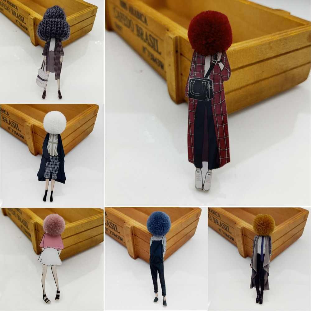 Fashion Brooch Pins for Woman Brooches Cute Girls Cartoon Models Acrylic Brooches Kawaii Pompom Clothing Jewelry Accessories