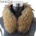 Wink Gal 100% Natural Real Raccoon Fur Collar Scarf For Women Winter Coat Cap Warm Genuine Fur Collar Scarves AO725