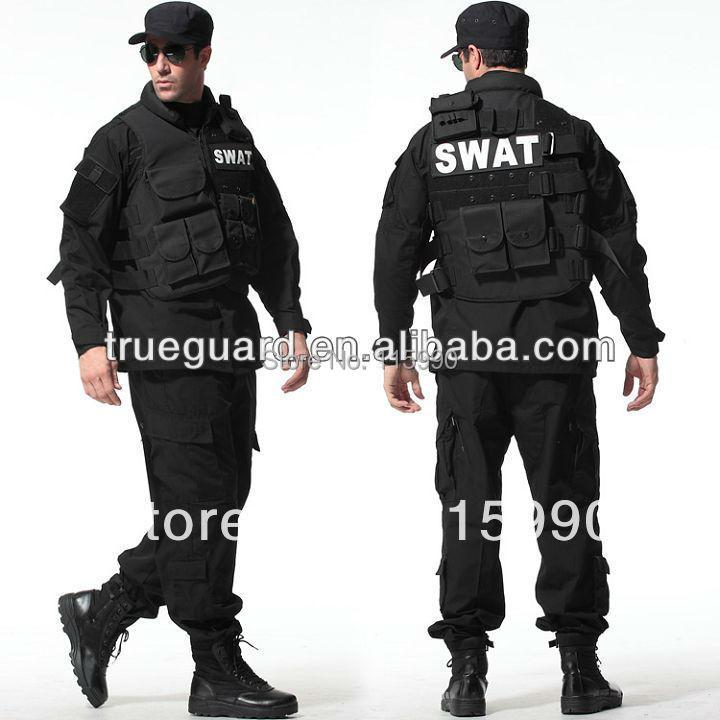 Tactical Rip-stop Black Army Uniforms army camouflage uniform tactical clothing BDU black suit set