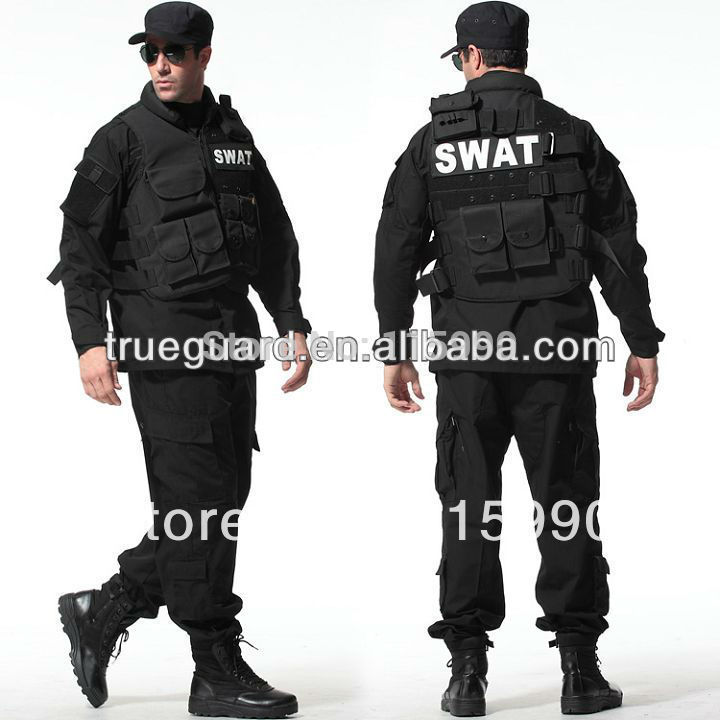 Tactical Rip-stop Black Army Uniforms Army Camouflage Uniform Tactical Clothing BDU Black Suit Set