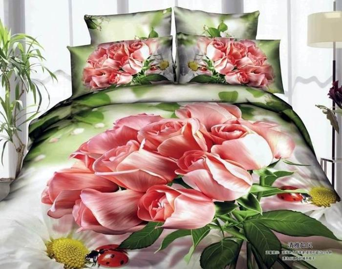 Good Quailty Wedding Bed Set Pink Queen Size 100 Cotton Oil Painting Bedroom Sheets Bedding With Roses Duvet Sets