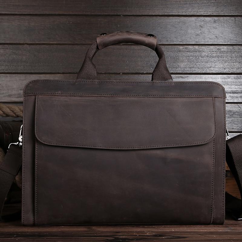 Luxury Vintage Handmade Crazy Horse Leather Men Briefcase 100 Genuine Leather Laptop handbag Perfect Quality Business