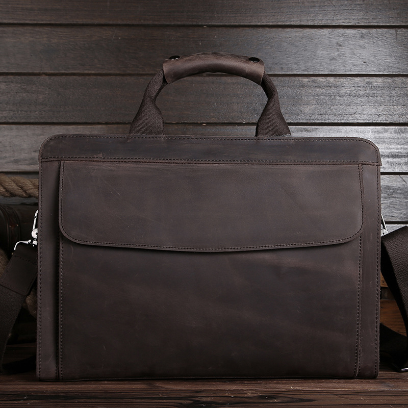 Luxury Vintage Handmade Crazy Horse Leather Men Briefcase 100% Genuine Leather Laptop Handbag Perfect Quality Business Briefcase