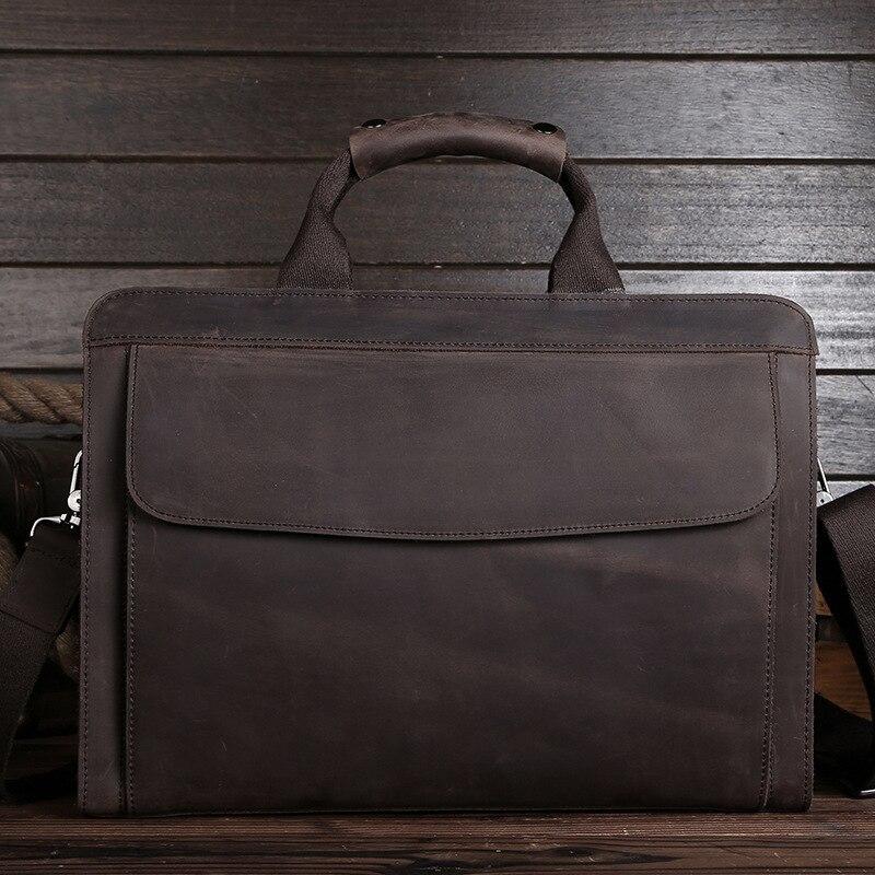 Luxury Vintage Handmade Crazy Horse Leather Men Briefcase 100% Genuine Leather Laptop Handbag Perfect Quality Business Briefcase