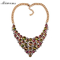 816380ed2a34 Miwens Brand Bohemia High Quality Alloy Round Beads Acrylic Crystal Women  Big Link Chain Choker Necklace