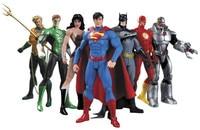 Elsadou 7pcs/set DC Super Heroes Superman Batman Wonder Woman The Flash Green Lantern Aquaman Cyborg PVC Action Figures