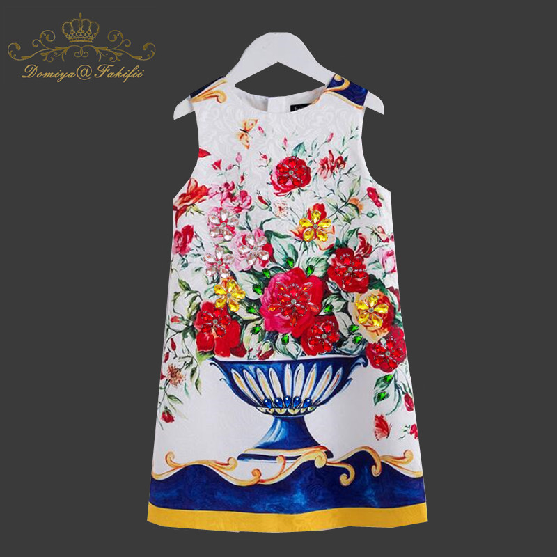 Girl Christmas Sleeveless Dress 2018 Autumn Winter Floral Print Toddler Girl Dresses For Weddings Kids Clothes Children Clothing random floral print v neck sleeveless irregular hem dresses