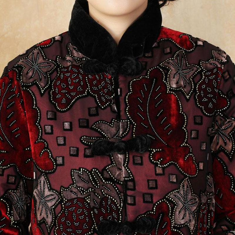 Style Chinois Femmes Rembourré Col Oversize Faux 4xl Vintage Veste 3xl Vert Outwear Manteau Hiver Cristal rouge Épais Chaud Mandarin Coton FrrXwqBd