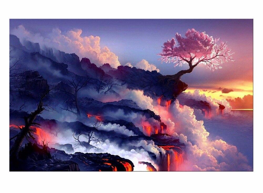 1 Панель Гостиная Home Decor Wall Книги по искусству изображение облака горный огонь цветущей вишни пейзаж Картина на холсте-защелка