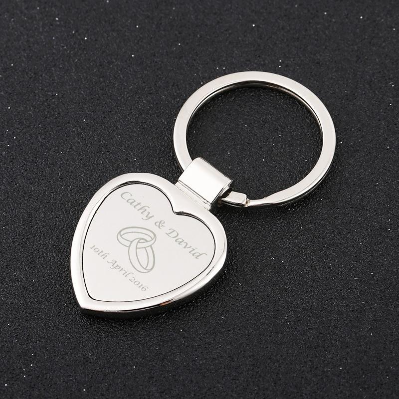 50 Personalized Keychain Wedding Anniversary Birthday Party Favor Love Heart Keychain Custom Logo Engraved Metal Key