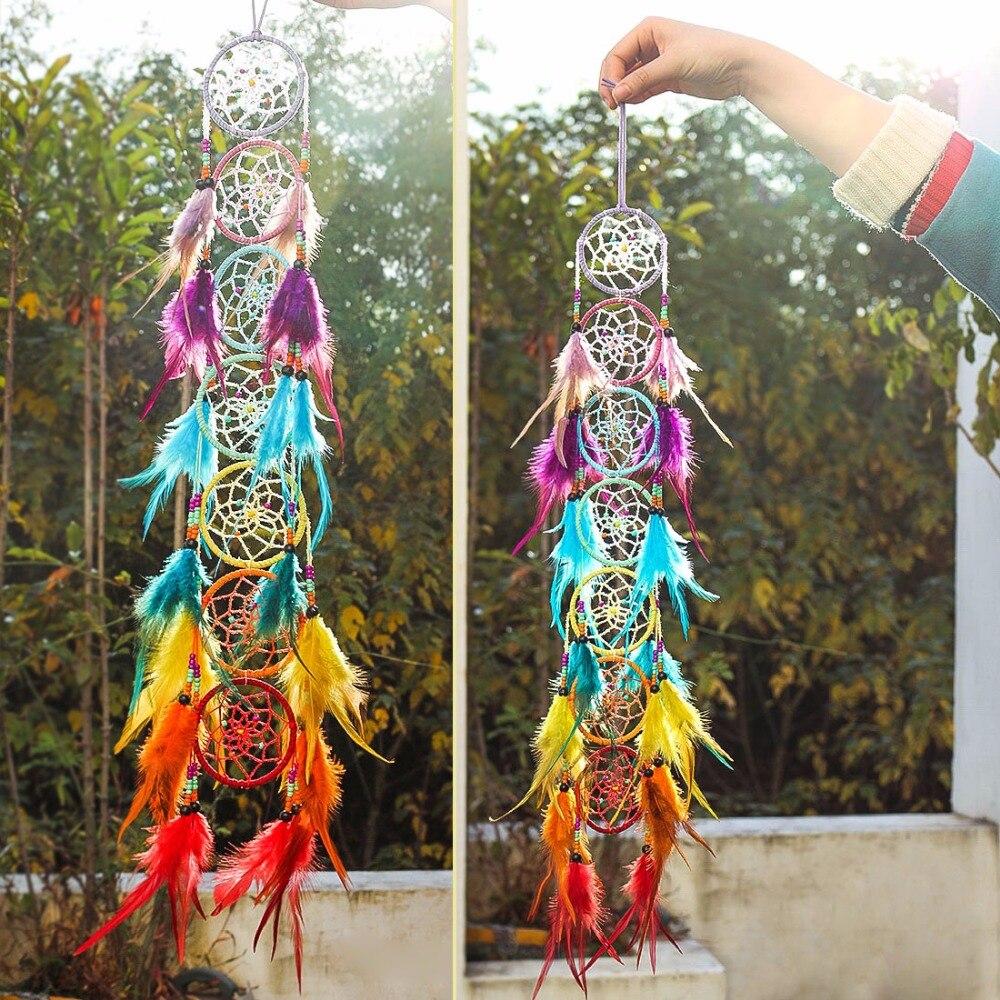 H & D Chakra Dream Catcher Lampadario Prism Suncatcher Dell'arcobaleno Maker Piuma Casa Attaccatura di Parete Fengshui Dreamcatcher Decorazione Pendente