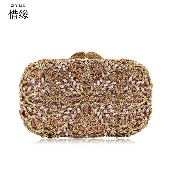 XIYUAN BRAND gold Diamond Rhinestone Purses Ladies Minaudiere Evening Clutch Bags Red Crystal Party Clutches Wedding Bridal Bag все цены