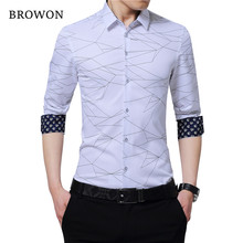 4af92acbb BROWON Luxo Marca Mens Camisas De Vestido Dos Homens Camisa de Manga Longa  de Impressão Geométrica